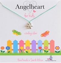 Angelheart Bloem aan blauw zijden koordje