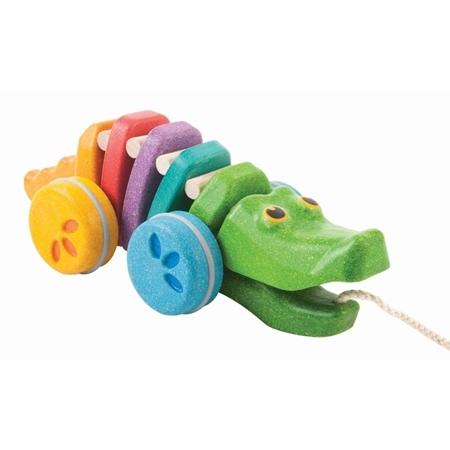 Plan Toys Trekdiertje Krokodil regenboog