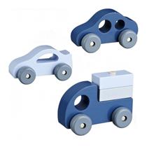 Houten voertuigen, set van drie Blauw