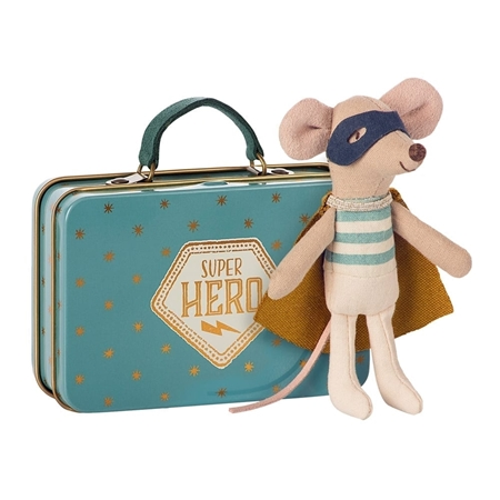 Maileg Superhero Mouse in Suitcase