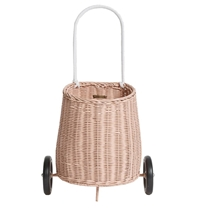 Rieten Luggy trolley roze