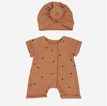 Jumpsuit Doll Dots Nut