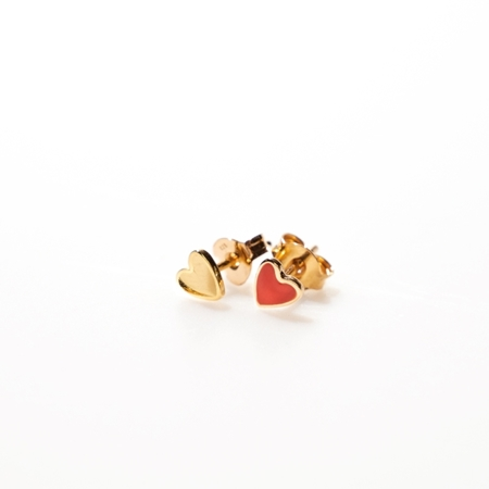 Selva Sauvage oorbellen Hearts goud rood
