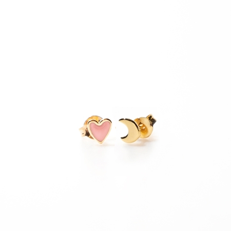 Selva Sauvage oorbellen Heart Soft pink Moon gold