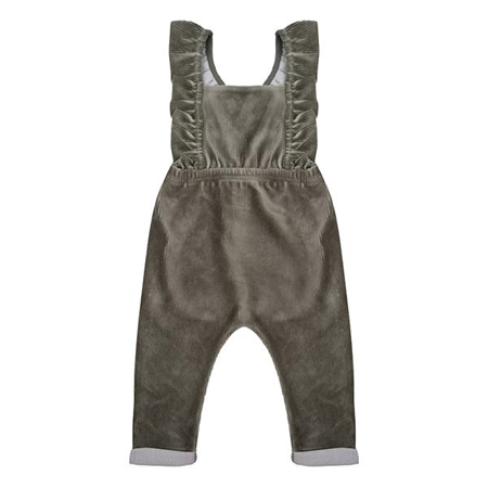 Little Indians Ruffled Jumpsuit Corduroy Green