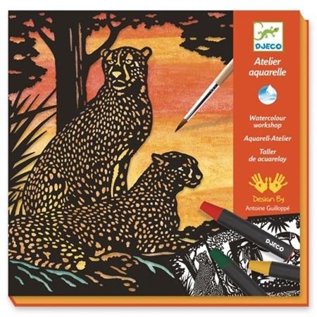 Djeco Knutseldoos Aquarel Jungledieren
