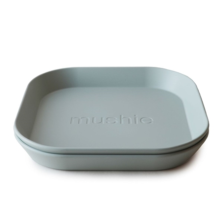 Mushie Set van 2 vierkanten borden Sage