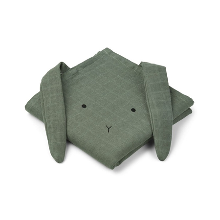 Liewood Hannah hydrofiele doeken Rabbit Faune Green 70x70cm